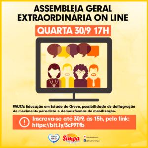 ASSEMBLEIA GERAL EXTRAORDINÁRIA @ ON-LINE PELA PLATAFORMA ZOOM