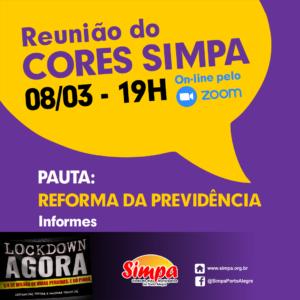 REUNIÃO CORES SIMPA @ ON-LINE PELA PLATAFORMA ZOOM
